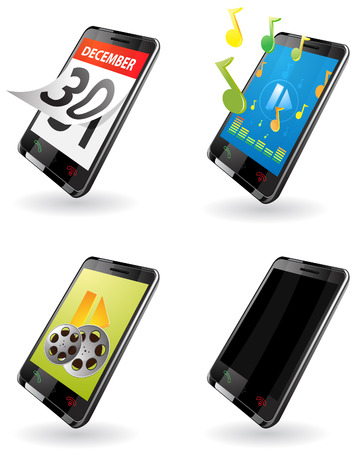 Illustration of 3rd Generation (3G) PDA. icons for phone, calendar, music player, video player, out-of-work telephone.