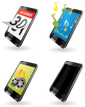 outwork: Ilustraci�n de tercera generaci�n (3G) PDA. iconos para el tel�fono, calendario, reproductor de m�sica, reproductor de v�deo, tel�fono fuera del trabajo.