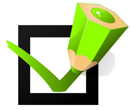 selectievakje en groene potlood