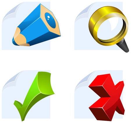 editor icon set: edit, search, confirm, cancel Illustration