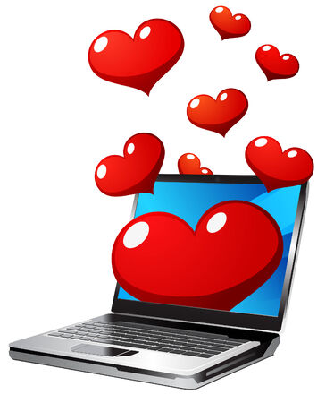 Laptop with hearts