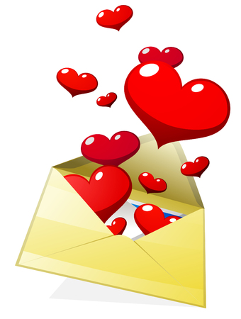 Envelope with hearts.  Illustration