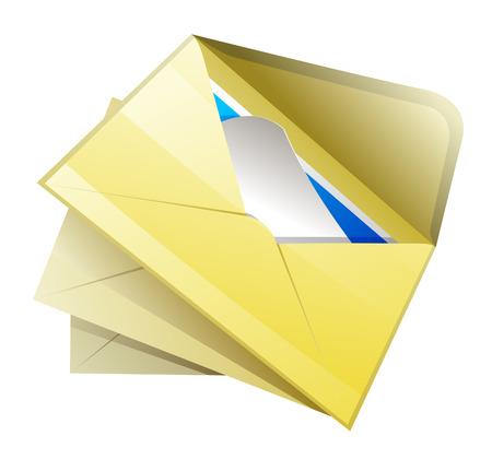 correspondence: Mail icon. Open envelope with correspondence.