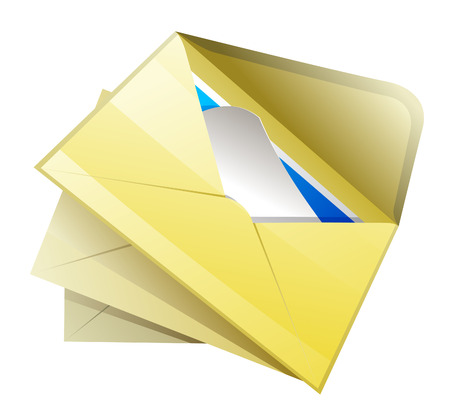 Mail icon. Open envelope with correspondence.
