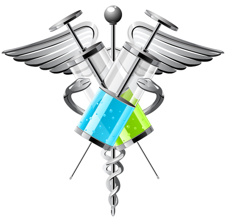 Medical symbol with syringes, wings and  snakes.