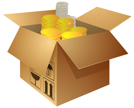 open box with golden and silver coins Illustration