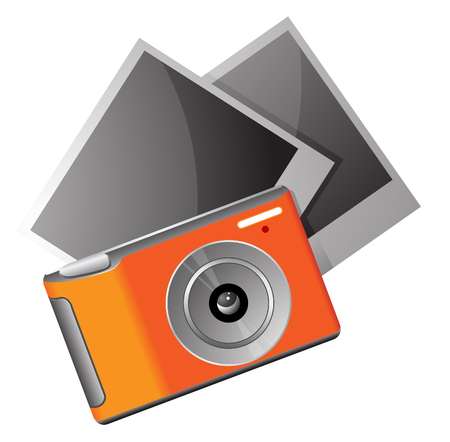 photo gallery icon, photo camera and photographies Illustration