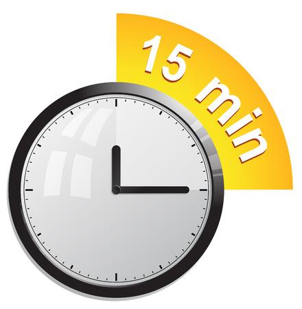 clock, timer 15 minutes Ilustração
