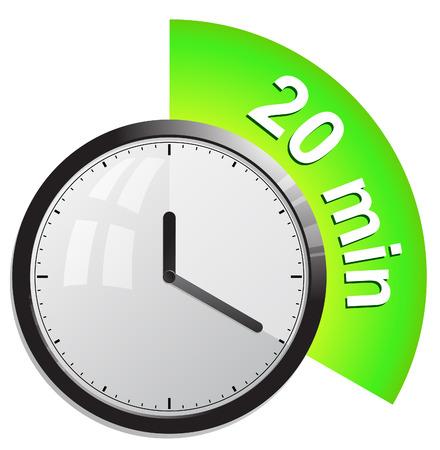 klok, timer 20 minuten Stock Illustratie