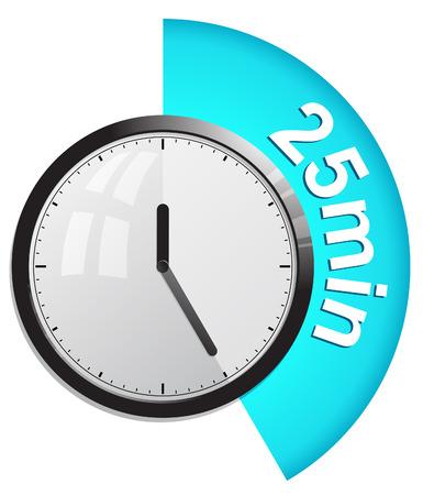 second hand: clock, timer 25 minutes Illustration