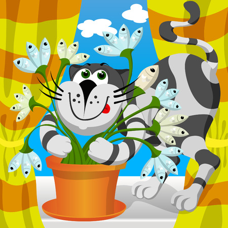 illustration - cat embraces fish flower  Vector
