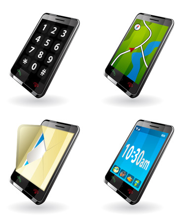3g: Illustration of 3rd Generation  3G  PDA  icons for phone, GPS navigation, SMS, mail, clock