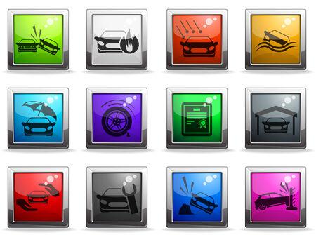 seguros autos: Iconos de seguros de coches Vectores