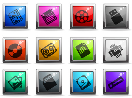 carriers: Information carriers icons Illustration