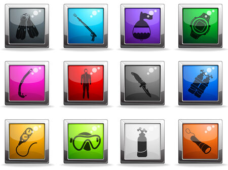 Buceo icon set