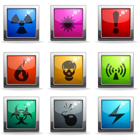 hazardous area sign: Los iconos de peligro Se�al Vectores