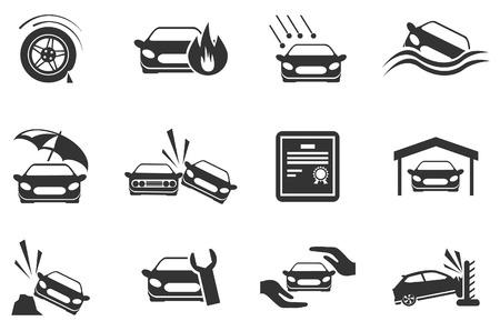 Iconos de seguros de coches Vectores