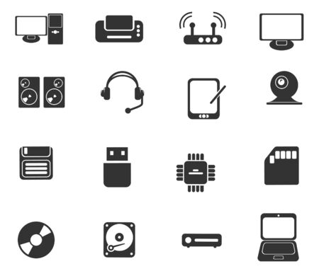Computer equipment simple vector icons Vector
