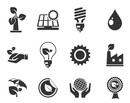 environmental conservation: Ecology Icons Illustration