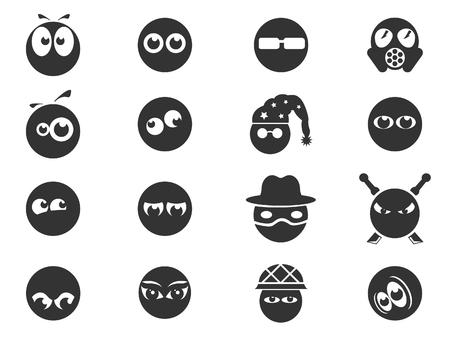 Emociones y miradas iconos Vectores