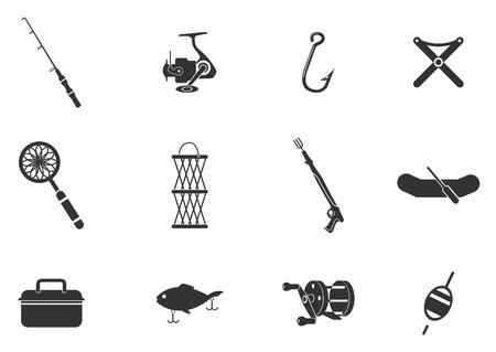 Fishing icon set Vector