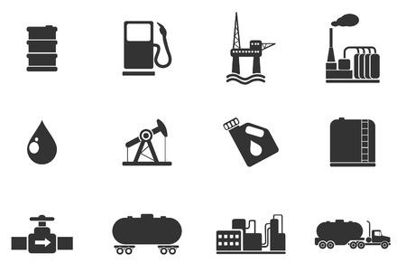 Olie en benzine industrie objecten pictogrammen