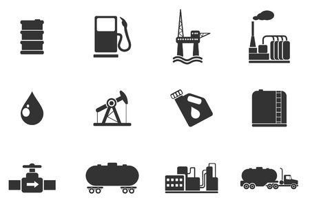 pozo petrolero: Sector de Petróleo y gasolina iconos de objetos Vectores