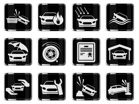 swerving: Car Insurance Icons Illustration