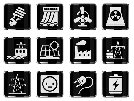 hydroelectric power station: Icon Set, Energy and Industry