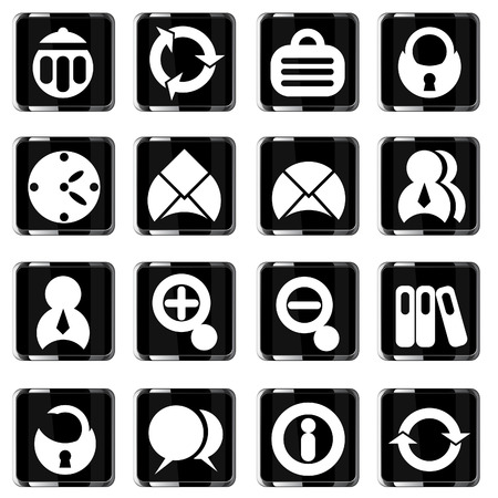 glass office: glass office icons set