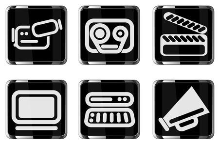 Media glossy icon set Фото со стока - 28564058