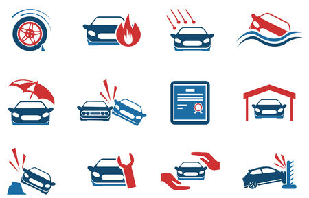 hailstorm: Car Insurance Icons Illustration