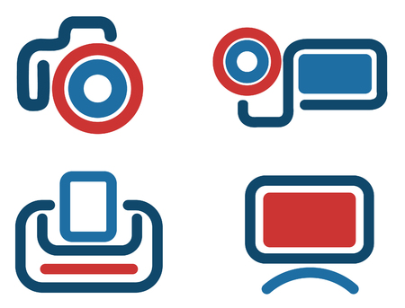 Photo video icon set Vector