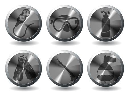 oxygen mask: Diving icon set