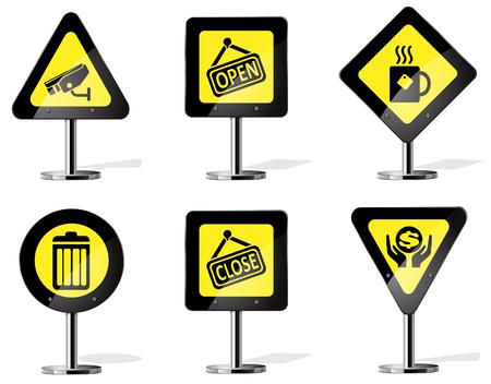decorative urn: Road Sign Icons Illustration