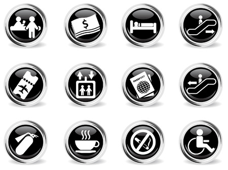 customs official: Airport icons Illustration
