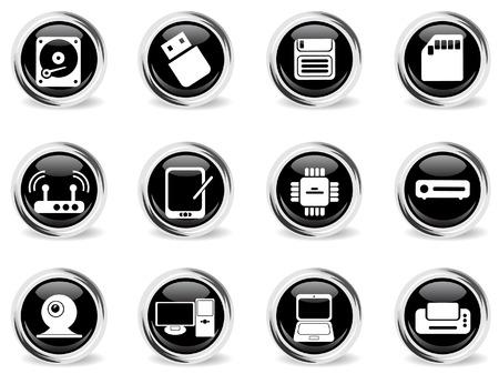 chrom: Computer equipment chrom vector icons Illustration