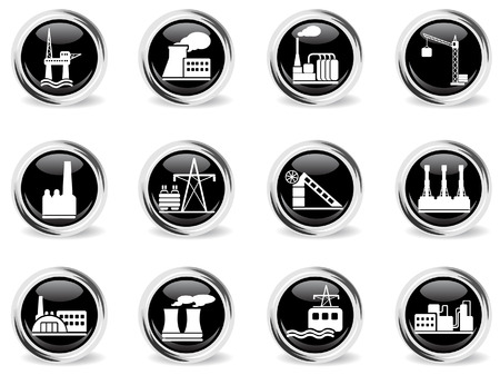 smoke stack: Factory and Industry Symbols Illustration