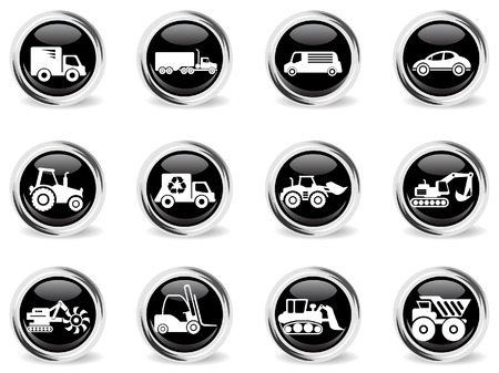 earth mover: Transportation & Loading Machines Icons Illustration