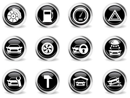 brillante ronda icono del coche conjunto