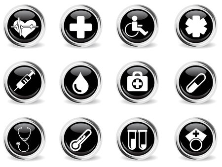 round glossy health icon set Vector
