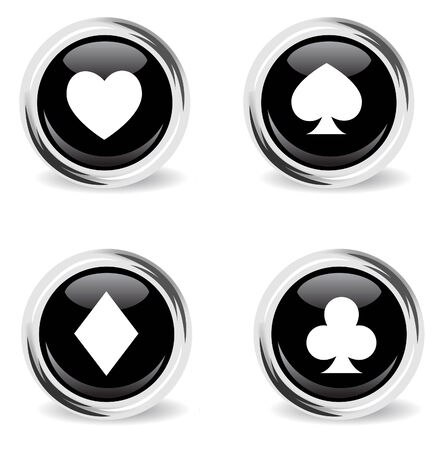 baptize: glass round poker icon set Illustration