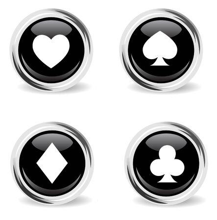 ardour: glass round poker icon set Illustration