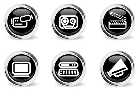 round glossy media icon set Vector