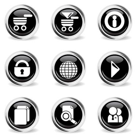 sopping: glass round web icon set