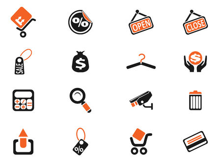 rubbish cart: Shopping icons Illustration