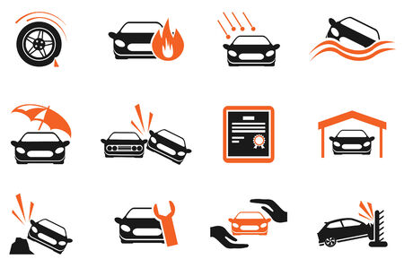 auto accident: Car Insurance Icons Illustration