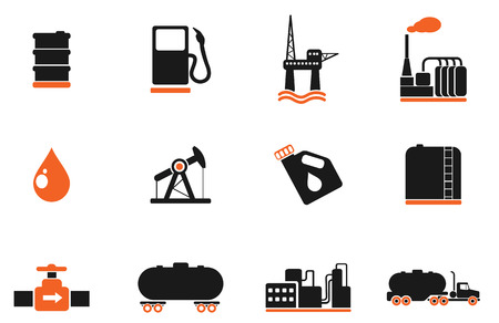 fuel storage tank: Oil and petrol industry objects icons Illustration