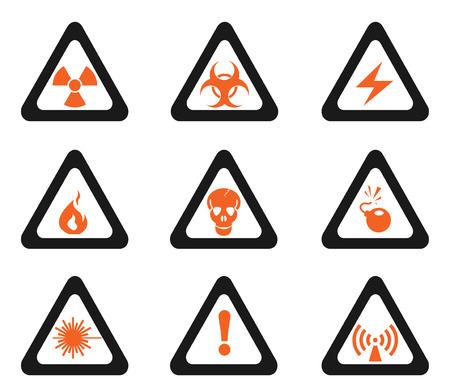 hazardous area sign: Triangular Hazard Sign Icons Illustration