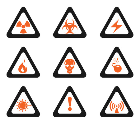 Triangular Hazard Sign Icons Vector